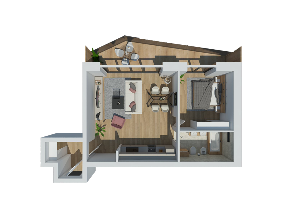 apartment d<br />57,90<sup>m2</sup>