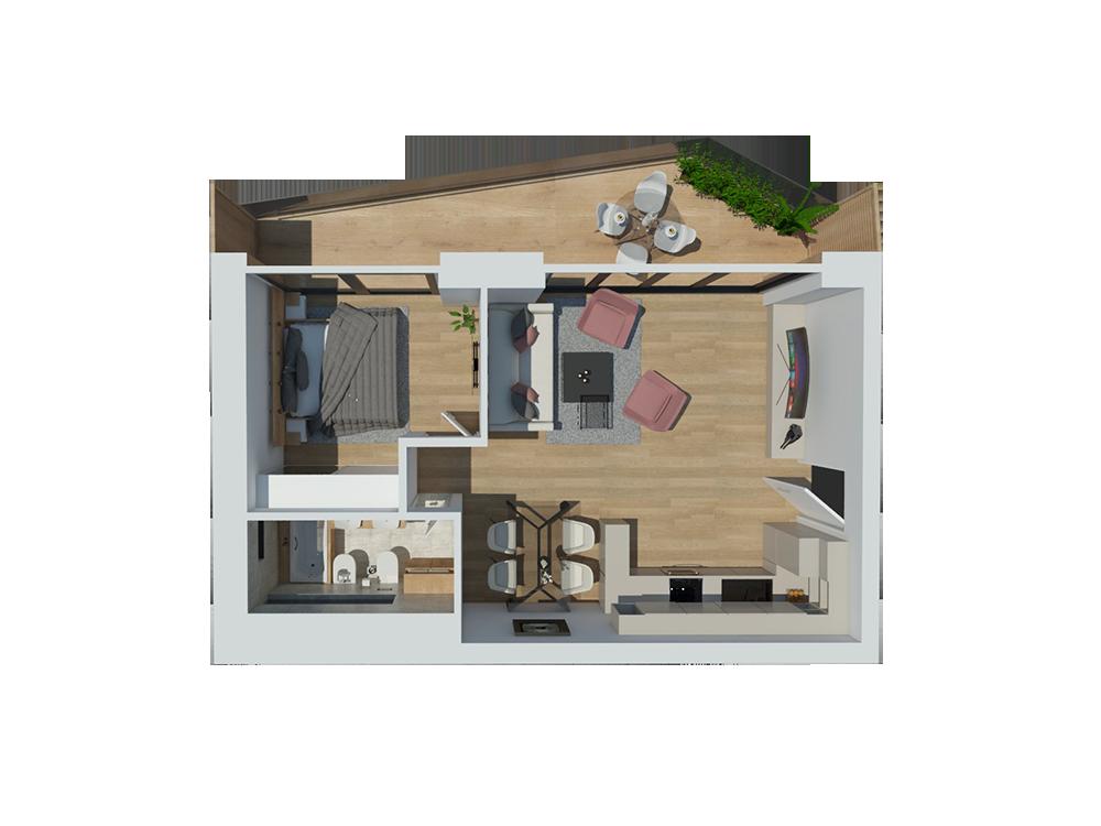 apartment e<br />49,00 <sup>m2</sup>